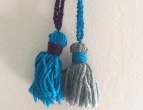 Samples from a crochet chain/tassel making class.