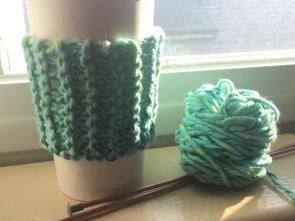 Beginner Knitting project sample.
